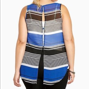 Torrid Striped Chiffon Sleeveless Button Back Tank